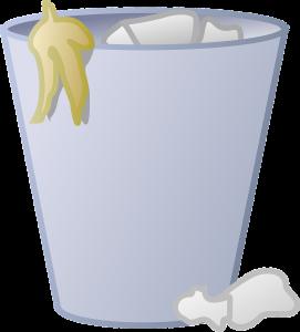 Plaatje van een prullenbak met papier en een schil