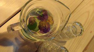 koel drinken met viooltjes, komkommer en limoen