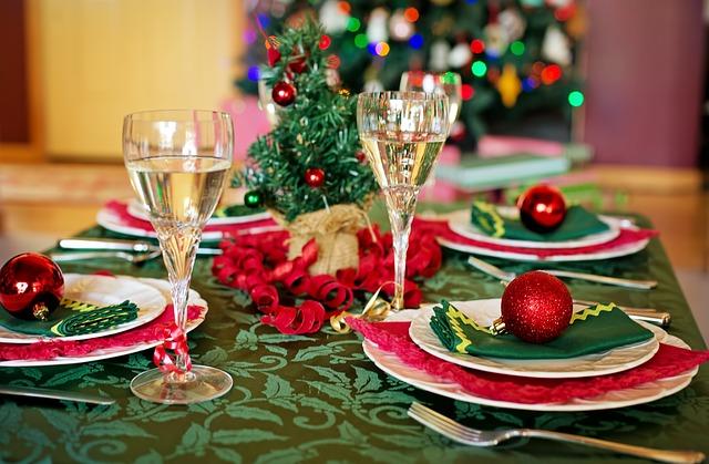 keuzes bij het kerstdiner, aankleding van de tafel