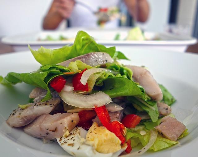salade met vis, groente bij diabetes type 2